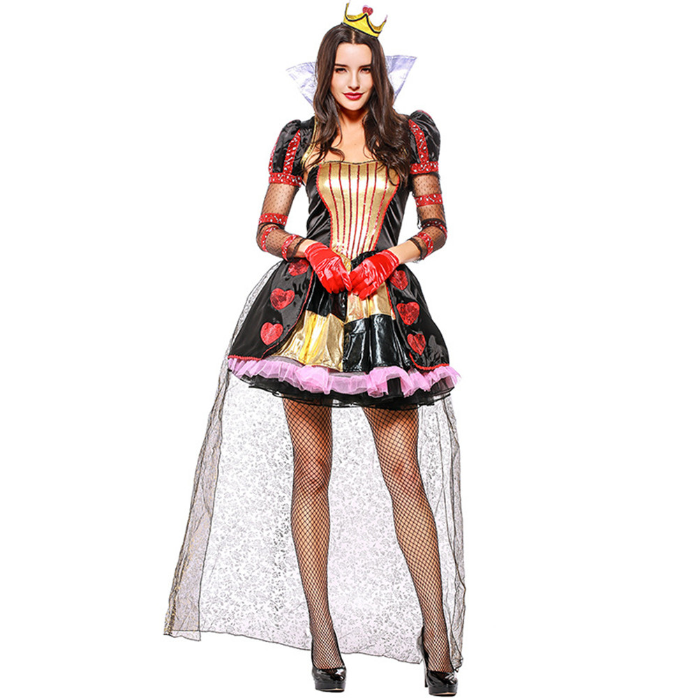 Alice In Wonderland Cosplay Costume Queen Of Hearts Costume Red Queen Costume Female Elegant Dress Cosplay Fancy Dress