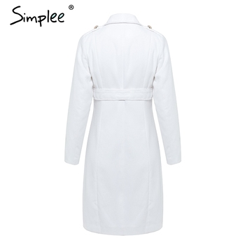Simplee Vintage double breasted white trench coat for women Sashes slim long trench female Winter office solid trench dress 4