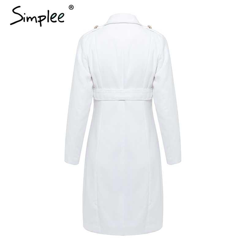 Simplee خمر مزدوجة الصدر الأبيض خندق معطف للنساء وشاحات ضئيلة طويلة خندق الإناث الشتاء مكتب الصلبة خندق فستان
