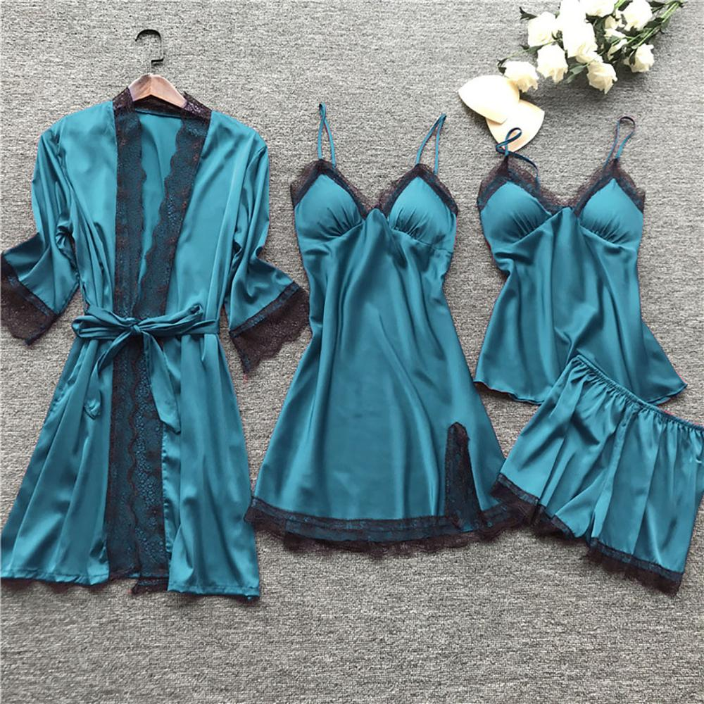 Sexy Women's Robe & Gown Sets Lace Bathrobe Nighdress Sleepwear Femme Robe Pajamas Set Satin Nightwear Homewear Sex Lingerie 4PC