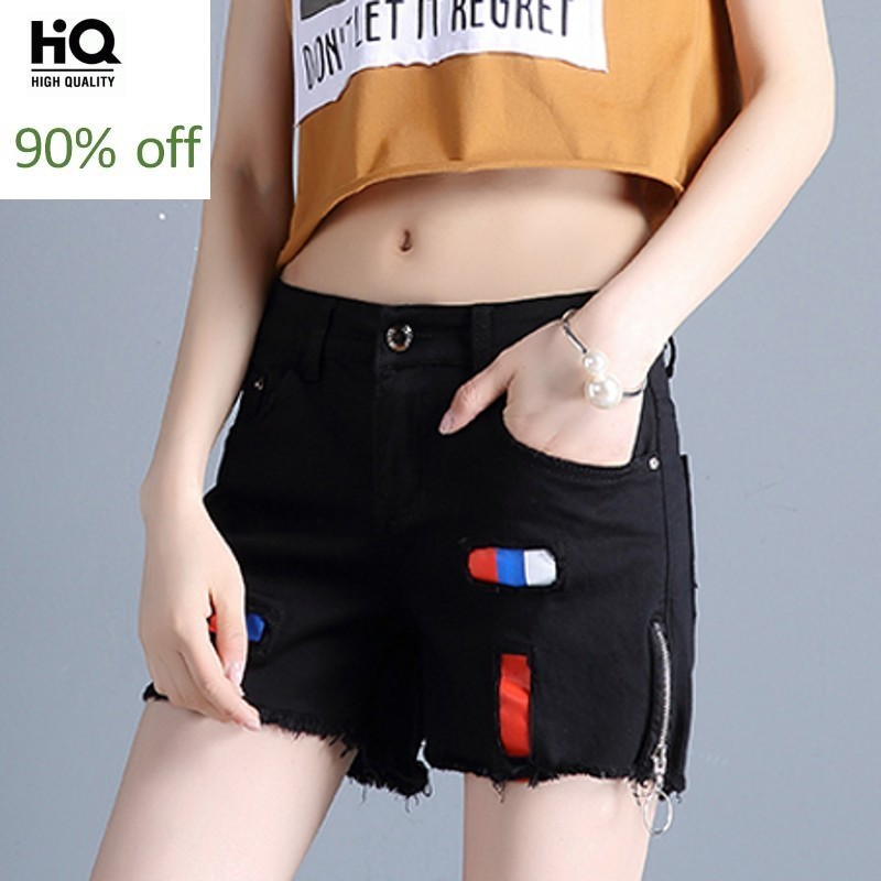 Summer Clothes 2020 Korean Fashion Women's Shorts Casual Slim Fit Distressed Jeans Woman Trouser Straight Black Short For Femme