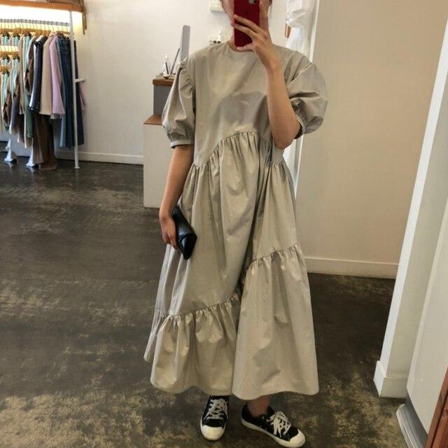Vintage Loose High Waist Elegant Puff Sleeve Maxi Dress 4