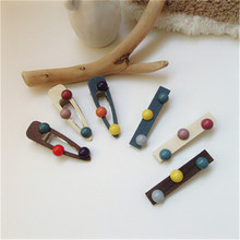 Korean Hit Color Hair Clip Beads Wooden Duckbill Clip Retro Cute Water Drop Clip For Girls Women