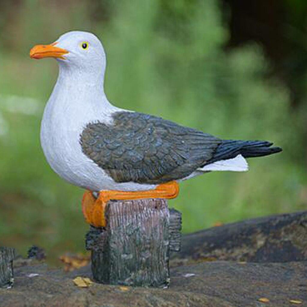Hecho a mano de resina jardín ornamento del pájaro escultura regalo creativo Gaviota estatua al aire libre jardín ornamento para patio, césped ornamento