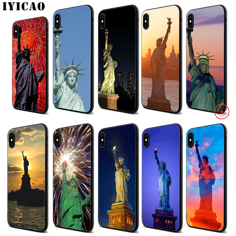 IYICAO New York statue of liberty Soft Black Silicone Case for iPhone 11 Pro Xr Xs Max X or 10 8 7 6 6S Plus 5 5S SE
