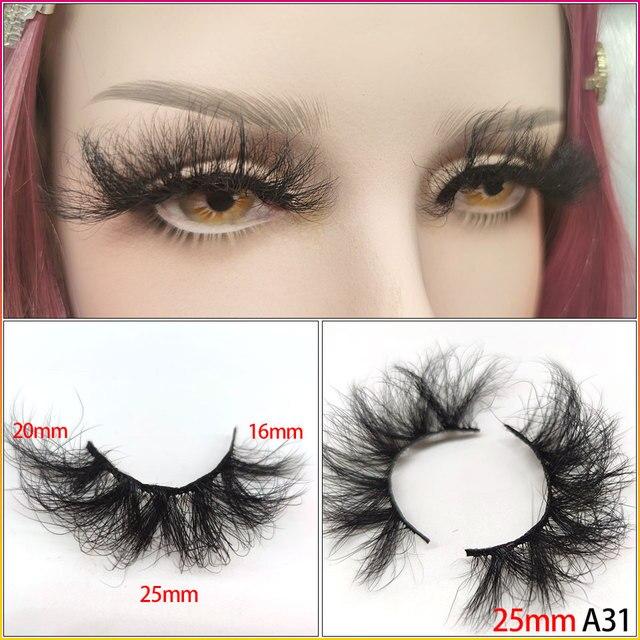 25mm Eyelashes Long 3D mink lashes long lasting mink eyelashes Big dramatic volumn eyelashes strip individual false eyelash 3