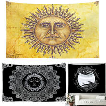 New Polyester Tapestries Psychedelic Sun Moon Face Tapestry Wall Hanging Mandala Blanket Throw Home Dorm Decor 60 x 40 inch(China)