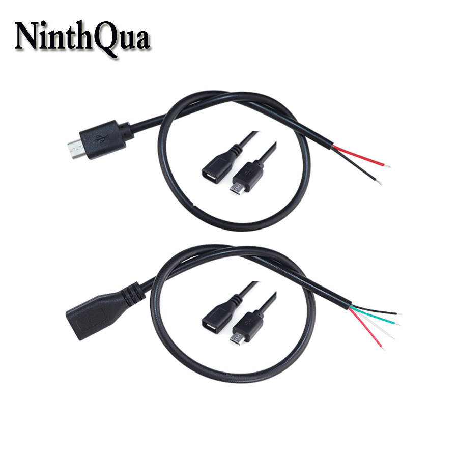 1pcs DIY Micro USB Welding Type Male Plug Female Jack Connector With 2P / 4P Cable For OD3mm Wire Black 30cm