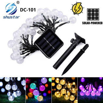 ledniceker multi colored solar led string lights with garden solar panel for garden patio christmas tree parties and all outdoor and indoor activities decoration 4 8 meters long 20 waterproof bulbs Waterproof Solar LED Light String Outdoor Crystal Ball 20/50/100LEDs Fairy Light Garden Fence Patio Christmas Lights Decoration