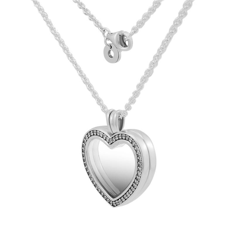 Clair CZ cristal coeur médaillon pendentif Collier amour déclaration colliers pour les femmes 925 en argent Sterling chaîne colliers bijoux bricolage - 3