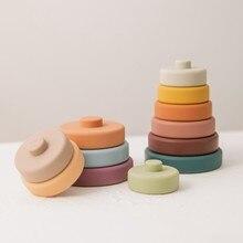 Novo 6 pçs brinquedos do bebê sensorial silicone educacional blocos de construção 3d empilhamento bebês borracha mordedor squeeze círculo brinquedos para infantil