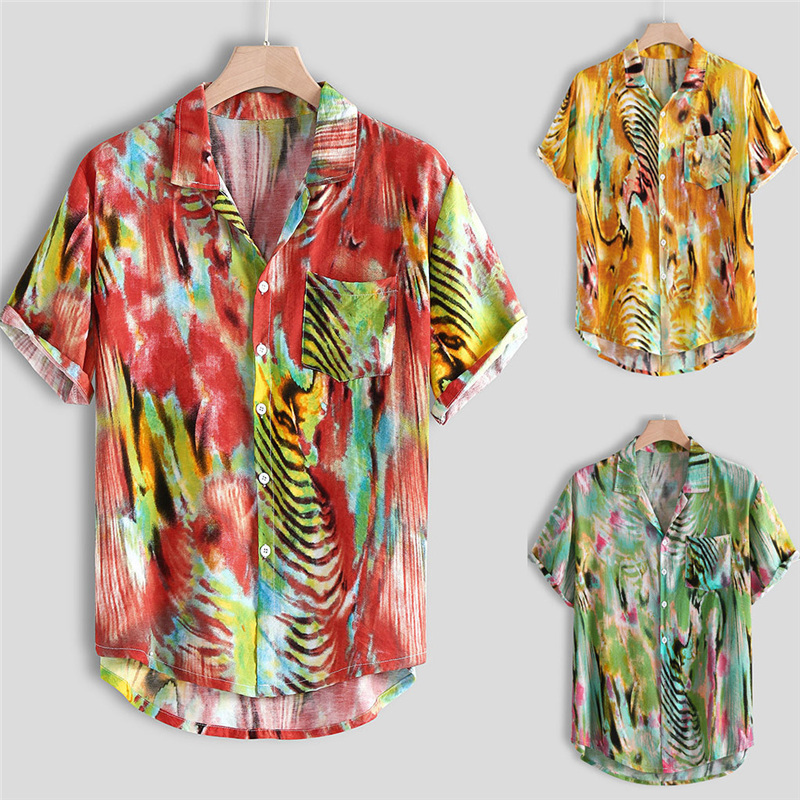 Shirt Male Us Size Hipster Hawaiian Beach Loose Shirts Mens Multi Color Lump Chest Pocket Short Sleeve Round Hem Shirts Blouse