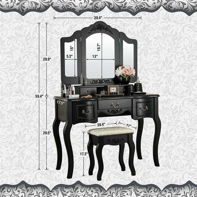 Vanity Set  w/ 3 Mirrors and 5 Drawers  6