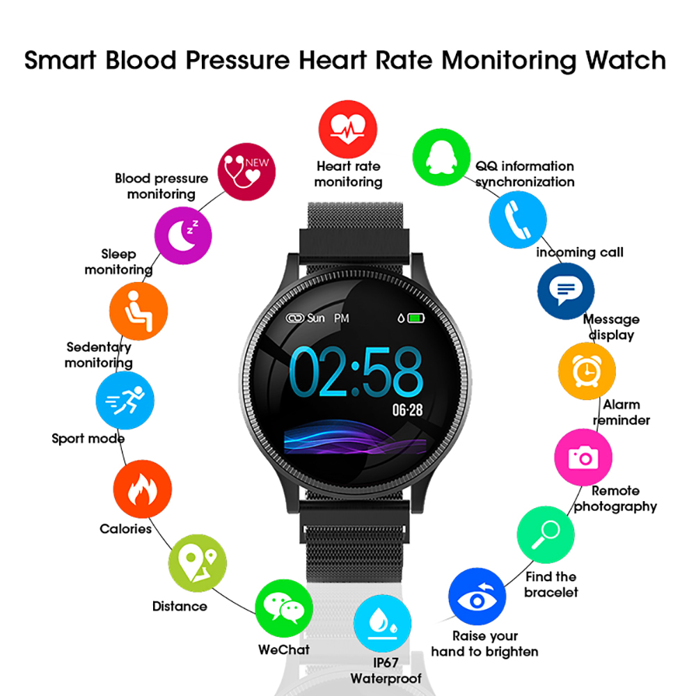 Sports Health Smart Watch 1.22 inch Magnetic Strap Fitness Tracker IP67 Waterproof Heart Rate Monitor Smartwatch for IOS Android (4)