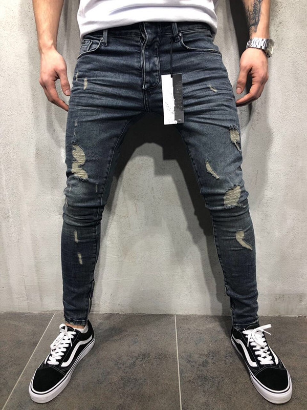 Europe And America High Street Fashion Man With Holes Jeans Elasticity Large Size Trousers Slim-Fit Pants American JEANS