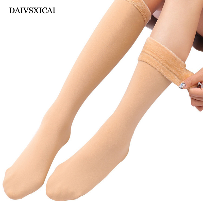 1Pairs/lot=2Pieces Autumn Winter Plus Velvet Socks Female Thick Calf Socks Woman Meat Color Snow Long Tube Socks Ladies