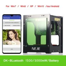 Neje DK BL 445nm 1500/3000 Mw Ad Alta Potenza Fai da Te Mini Cnc Bluetooth Laser Incisore Macchina Del Router per La Profondità di Incisione