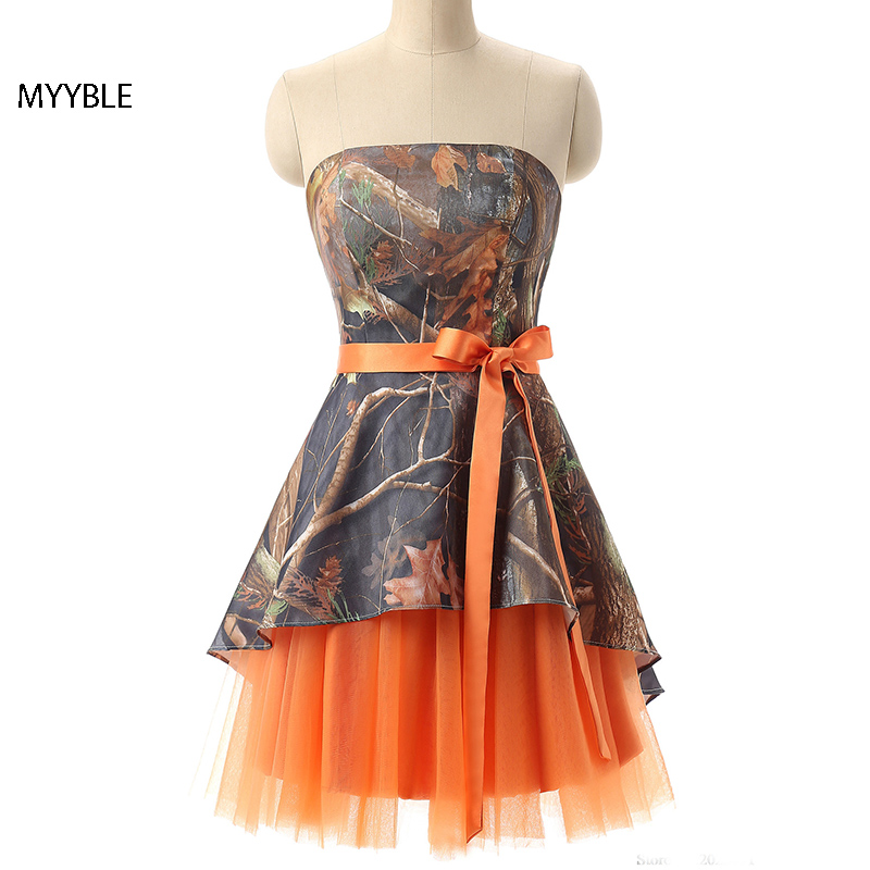 MYYBLE Vestidos De Dama De Honor De Camuflaje Naranja Talla Grande Vestido De Fiesta De Boda Vestido De Dama De Honor