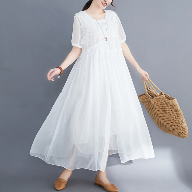 #0352 Plus Size Dress For Women Summer 2021 Elegant Embroidery Floral Loose A-line Pleated Midi Dresses Ladies Short Sleeves  5