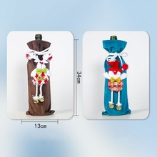 Drawstring Decorative Wine Bottle Covers Treat Bags With Cute 3D Doll Christmas