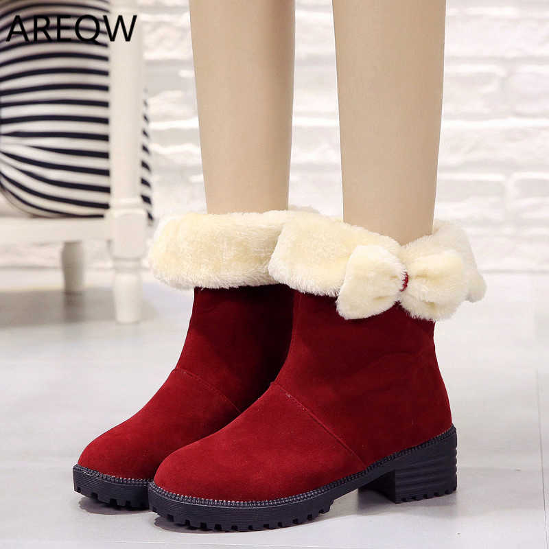 2019 Women Warm Ankle Boots Faux Fur Winter Fashion Boots Flat with Light Autumn and Winter Warm Footwear Shoes Booten