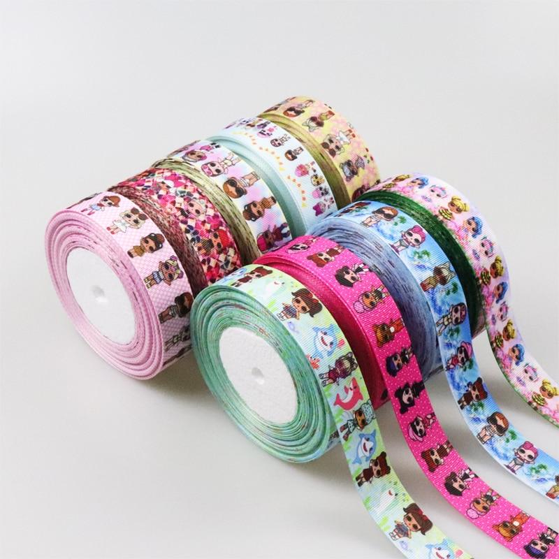 25 мм лента ручной работы из мультфильма, 38 мм лента для рукоделия, ленты с принтом на заказ, украшения для волос для девочек