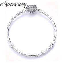 Moonmory Echt 925 Sterling Zilveren Hart Slot Armband Met Clear Zircon Voor Vrouwen Luxe Merk Sieraden Snake Chain 16 21Cm