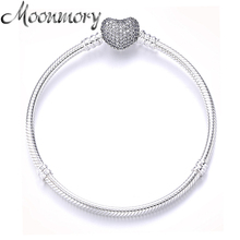 Moonmory Genuine 925 Sterling Silver Heart Lock Bracelet with Clear Zircon For Women Luxury Brand Jewelry Snake Chain 16 21CM