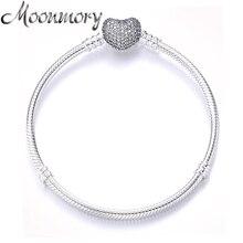 Moonmory pulsera de plata de ley 925 con candado de corazón y circonita transparente, joyería de marca de lujo, cadena de serpiente de 16 21CM