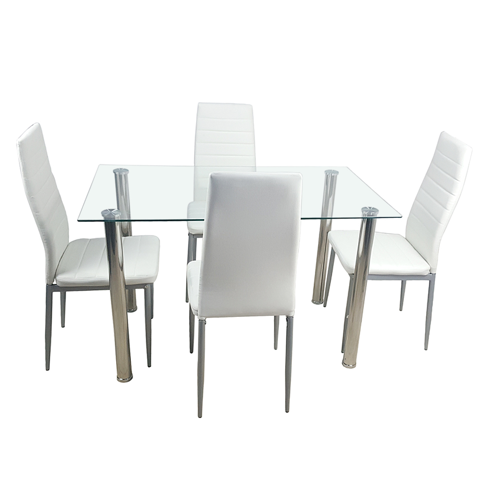 Dinning table set Tempered Glass Dining Table with 4pcs Chairs kitchen table glass table dining set furniture Shipping from US|  - title=