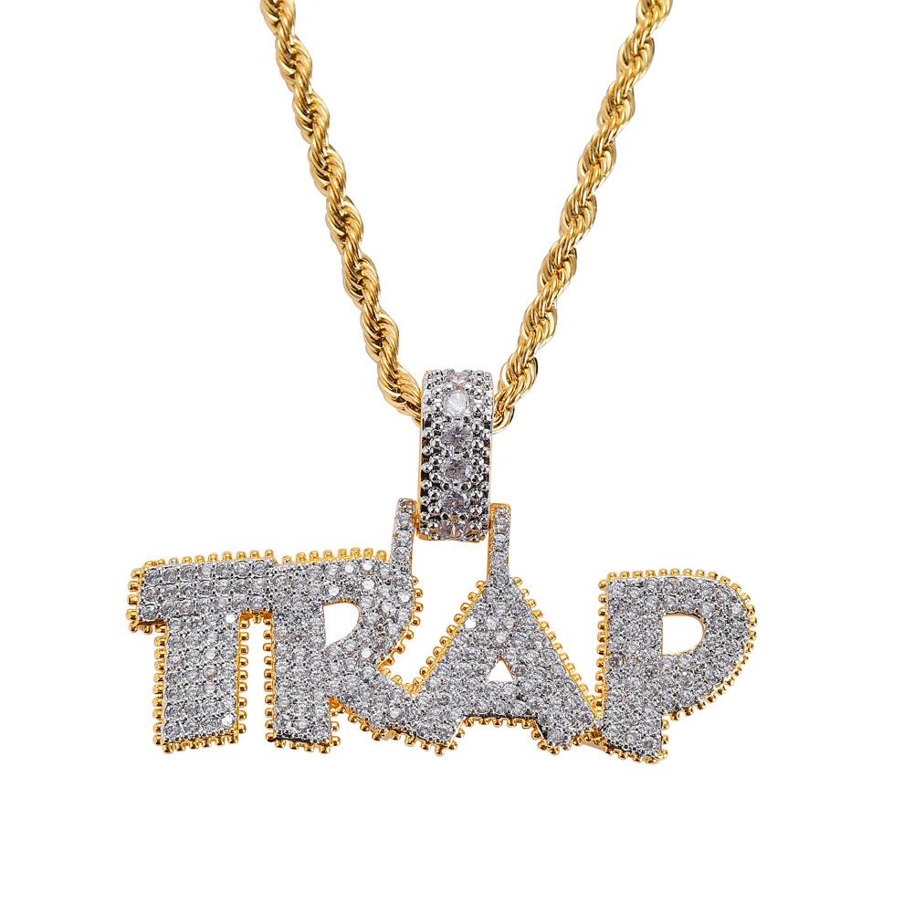 Custom Ape Pendnat 18k Gold Plate Simulated Diamonds 24 Inch Chain 2mm