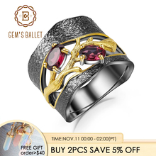 GEMS BALLET 925 Sterling Silver Original Handmade Branch Rings Natural Rhodolite Garnet Gemstones Ring for Women Fine Jewelry