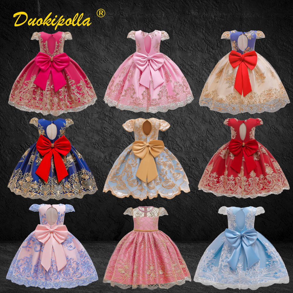 1-10Years Fancy Girls Princess Christening Birthday Party Dresses Kids Ball Gown Lace Floral Infant Prom Wedding Ceremony Dress