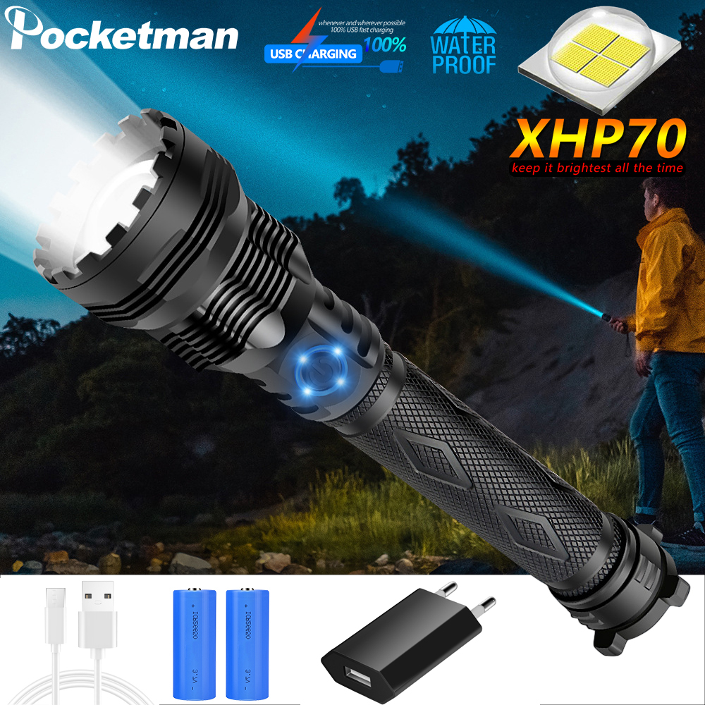 Super Powerful XHP70 LED Flashlight LED Torch USB XHP50 Zoom Tactical Torch 18650 26650 Rechargeable Battery Fishing Camping
