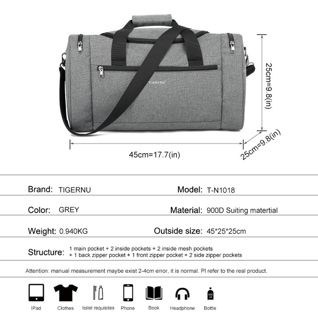 Tigernu 2019 New Large Capacity Travel Bag Men Multifunction Handbag With Shoulder Strap Waterproof High Quality Casual Bag Male 2