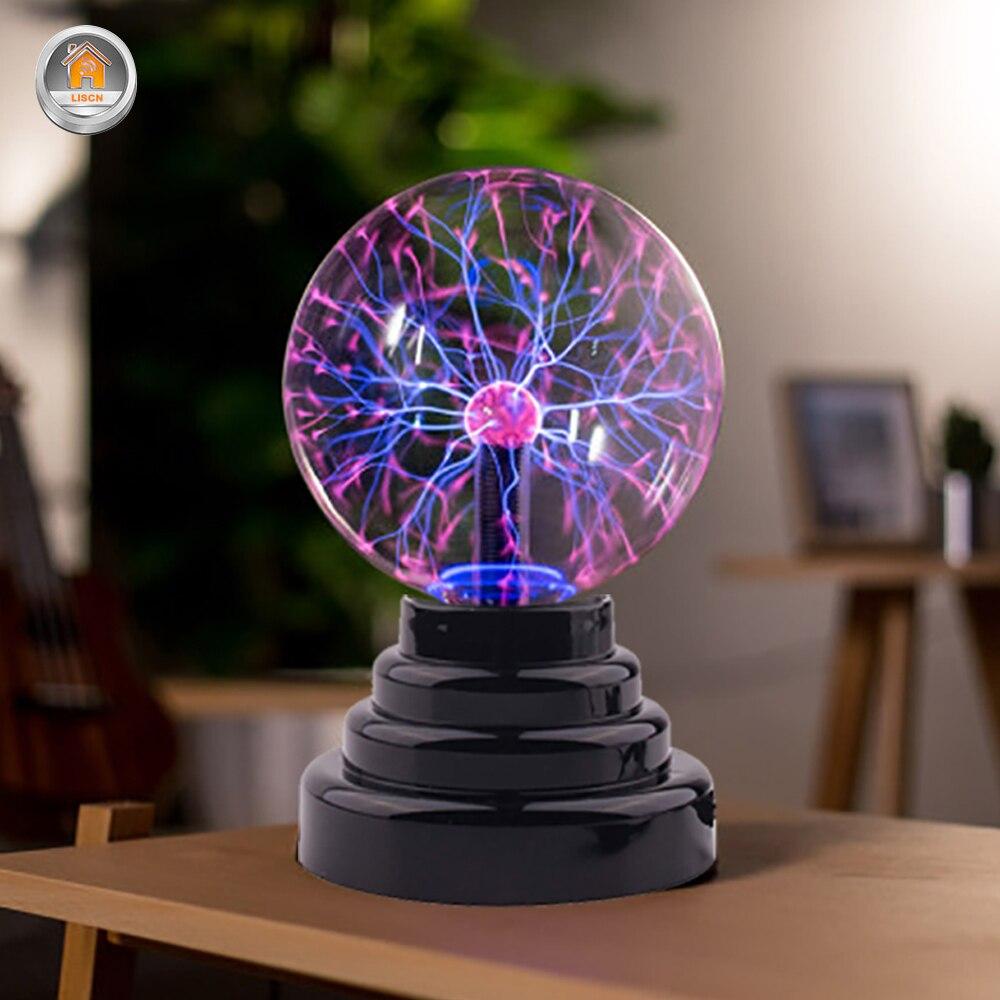USB Plasma Ball Lamp Magic Novelty Lighting RGB Night Light Home Decoration Kids Gift Touch Sound Sensitive Flashing Ball