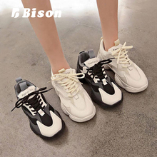 Bison Summer Women Mesh Sneakers Sport Thick Bottom Lace Up Shoes Female Platform Ins Shoes Fashion Causal Breathable Shoes 2018 new soft bottom lace up women s shoes breathable net surface student sport shoes ladies causal shoes small wihte shoes