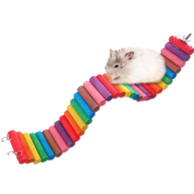 Cute Parrot Hamster Colorful Wooden Small Ladder Hanging Bed Suspension House Chewing Props Pet Products Toy