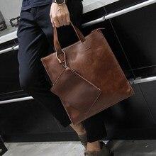 Business Casual Briefcase Genuine Leather Portable Laptop Vintage Shoulder Office Work Briefcase Bolso Hombre Bags Men DB60BA