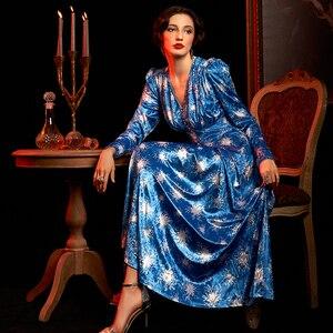 Image 2 - Twotwinstyle imprimir irregular vestido feminino com decote em v puff manga longa alta wsit ruched vestidos para o sexo feminino 2020 roupas de moda novo