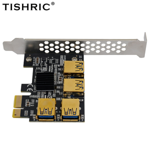 Image 3 - TISHRIC ทอง PCI 1ถึง4อะแดปเตอร์การ์ด USB 3.0 Multiplier HUB PCI Express PCIE Riser Card Adapter สำหรับ bitcoin Mining Miner