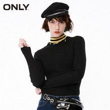 Только женский облегающий черный базовый свитер с длинными рукавами на шнуровке | 119124502