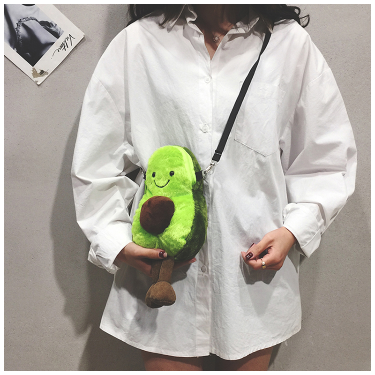 Avocado Cartoon Lovely Style Plush Cute Stuffed Kawaii Fruit Toys Stuffed Baby Shoulder Bag Toys Birthday Surprises Gifts