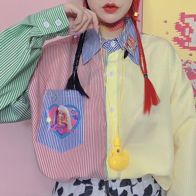 New Autumn Long-sleeved Striped Women Shirt Loose Cartoon Print BF Style Shirt Female Harajuku Sweet Hit Color Blouse Mujer 1