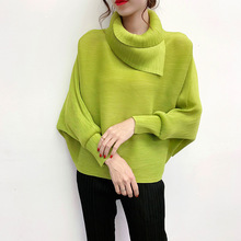 LANMREM 2020 New Scarf Collar Batwing Sleeves Pullover Twice Pleated Thickness Loose autumn Sweatshirt WJ74304