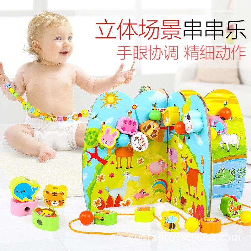 En bois filetage perle jouet arbre fruitier Bracelet perlé sous-Animal Fruit chaîne musique bébé petite enfance jouet éducatif