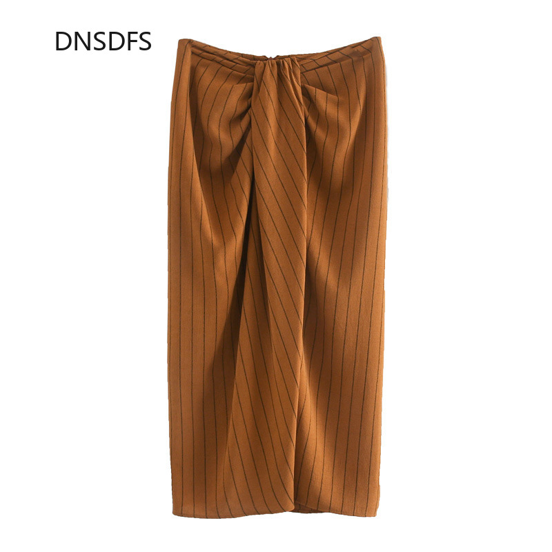 Elegant Fashion Office Lady Skirt Women Vertical Stripe Skirts Empire Mid-Calf Pencil Skirt Zipper Waistband Faldas Largas Mujer