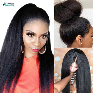 Allove Kinky Straight Wig Lace Front Human Hair Wigs Pre Plucked Brazilian Lace Front Wigs For Women Italy Yaki Human Hair Wig