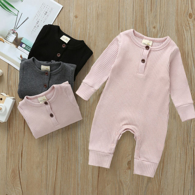 Babies Ribbed Cotton Romper for Sleeping 3
