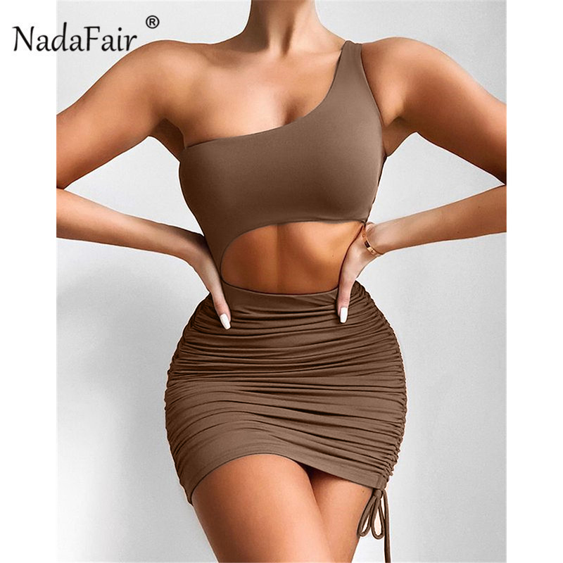 Nadafair Cut Out Sexy Mini Party Summer Dress Club Outfit Ruched One Shoulder Sheath Bandage 2021 Short Brown Bodycon Dress 1